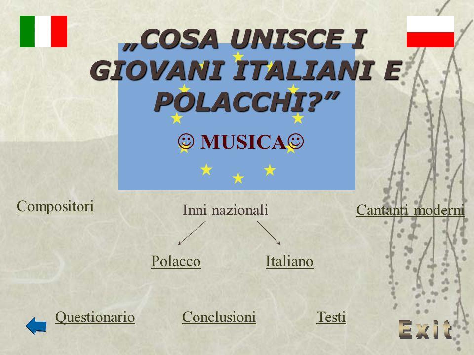 COSA UNISCE I GIOVANI ITALIANI E POLACCHI? MUSICA Inni nazionaliCantanti moderni Compositori PolaccoItaliano QuestionarioTestiConclusioni