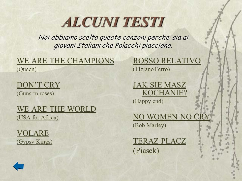 ALCUNI TESTI WE ARE THE CHAMPIONS (Queen) DONT CRY (Guns n roses) WE ARE THE WORLD (USA for Africa) VOLARE (Gypsy Kings) ROSSO RELATIVO (Tiziano Ferro