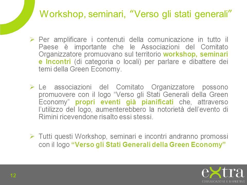 12 Per amplificare i contenuti della comunicazione in tutto il Paese è importante che le Associazioni del Comitato Organizzatore promuovano sul territorio workshop, seminari e Incontri (di categoria o locali) per parlare e dibattere dei temi della Green Economy.