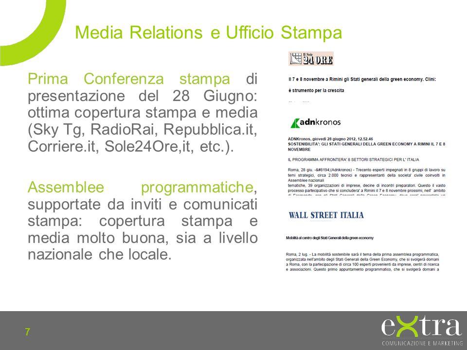 7 Prima Conferenza stampa di presentazione del 28 Giugno: ottima copertura stampa e media (Sky Tg, RadioRai, Repubblica.it, Corriere.it, Sole24Ore,it, etc.).
