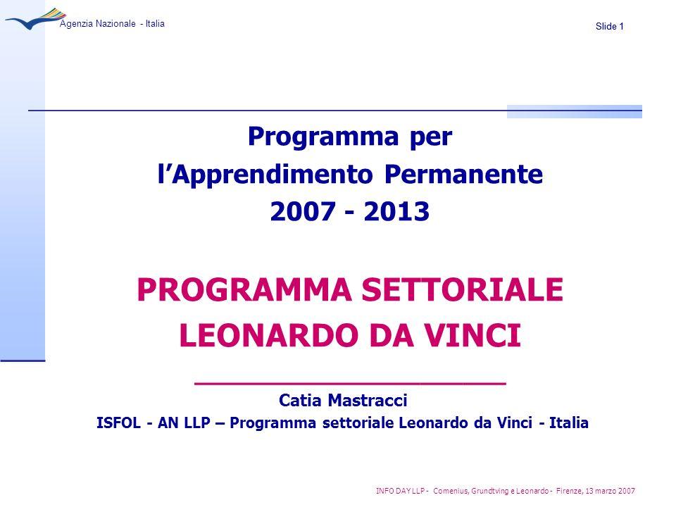Slide 1 Agenzia Nazionale - Italia INFO DAY LLP - Comenius, Grundtving e Leonardo - Firenze, 13 marzo 2007 Programma per lApprendimento Permanente 200