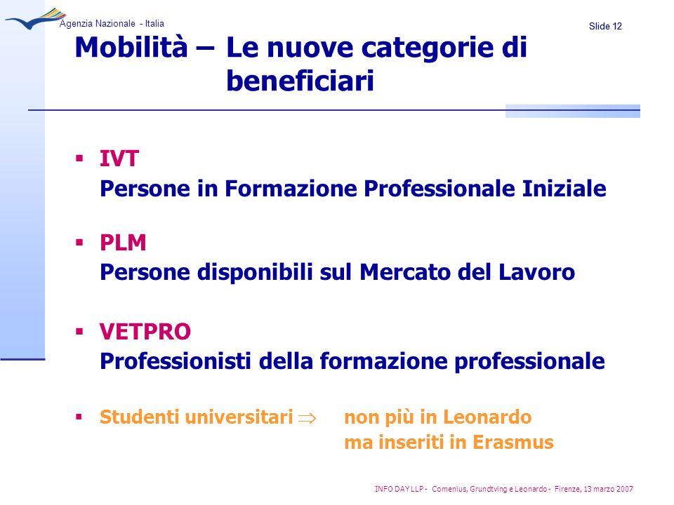 Slide 12 Agenzia Nazionale - Italia INFO DAY LLP - Comenius, Grundtving e Leonardo - Firenze, 13 marzo 2007 Mobilità – Le nuove categorie di beneficia