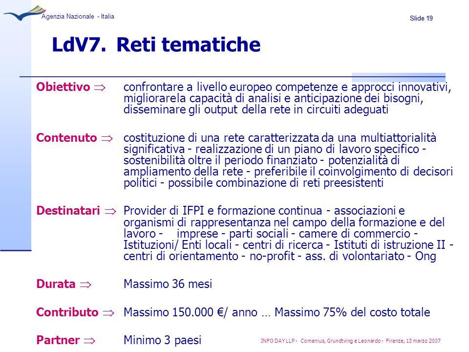 Slide 19 Agenzia Nazionale - Italia INFO DAY LLP - Comenius, Grundtving e Leonardo - Firenze, 13 marzo 2007 LdV7. Reti tematiche Obiettivo confrontare