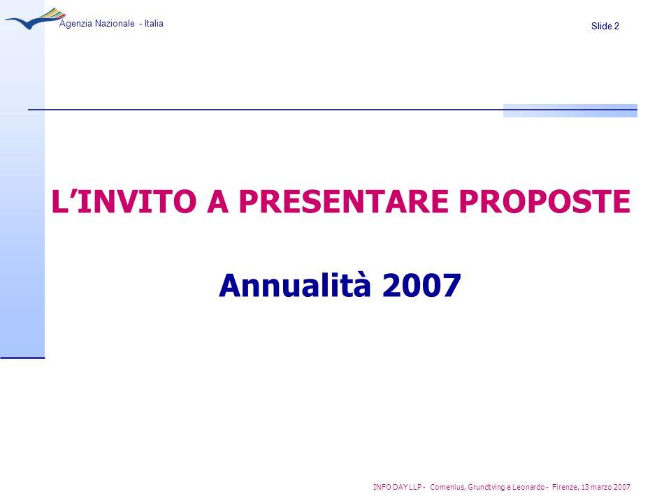 Slide 2 Agenzia Nazionale - Italia INFO DAY LLP - Comenius, Grundtving e Leonardo - Firenze, 13 marzo 2007 LINVITO A PRESENTARE PROPOSTE Annualità 200