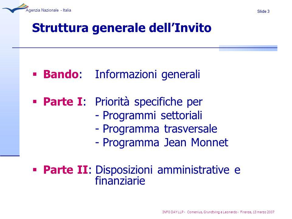 Slide 4 Agenzia Nazionale - Italia INFO DAY LLP - Comenius, Grundtving e Leonardo - Firenze, 13 marzo 2007 Priorità trasversali Partecipazione delle PMI Apprendimento lingue settoriali (VOLL) e insegnamento integrato di lingua e contenuto (CLIL)