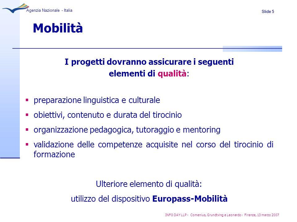 Slide 5 Agenzia Nazionale - Italia INFO DAY LLP - Comenius, Grundtving e Leonardo - Firenze, 13 marzo 2007 Mobilità I progetti dovranno assicurare i s
