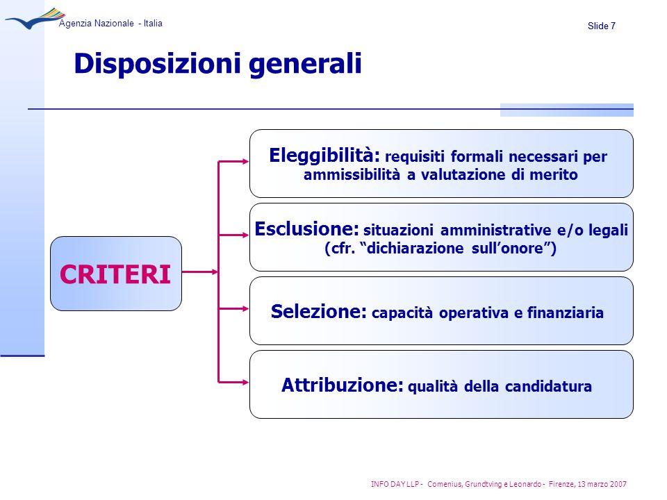 Slide 7 Agenzia Nazionale - Italia INFO DAY LLP - Comenius, Grundtving e Leonardo - Firenze, 13 marzo 2007 Disposizioni generali Eleggibilità: requisi