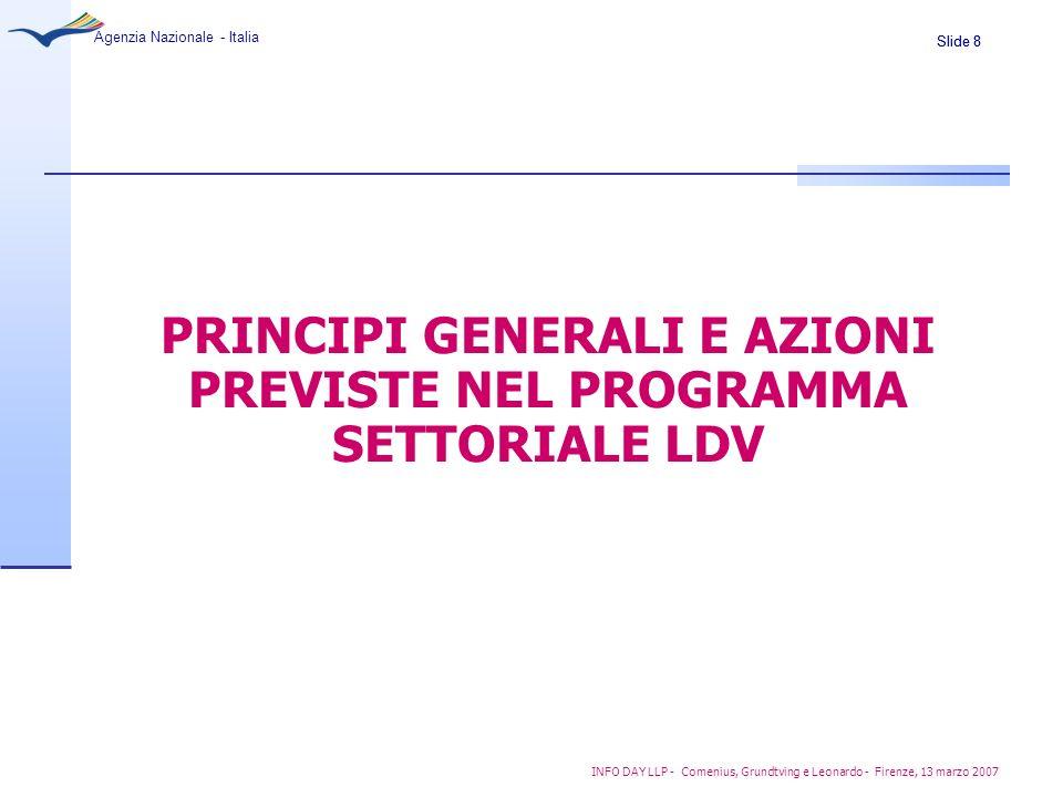 Slide 8 Agenzia Nazionale - Italia INFO DAY LLP - Comenius, Grundtving e Leonardo - Firenze, 13 marzo 2007 PRINCIPI GENERALI E AZIONI PREVISTE NEL PRO