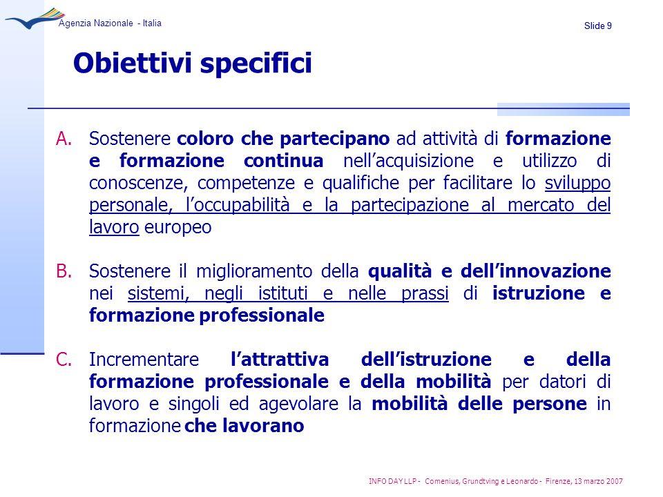 Slide 9 Agenzia Nazionale - Italia INFO DAY LLP - Comenius, Grundtving e Leonardo - Firenze, 13 marzo 2007 Obiettivi specifici A.Sostenere coloro che