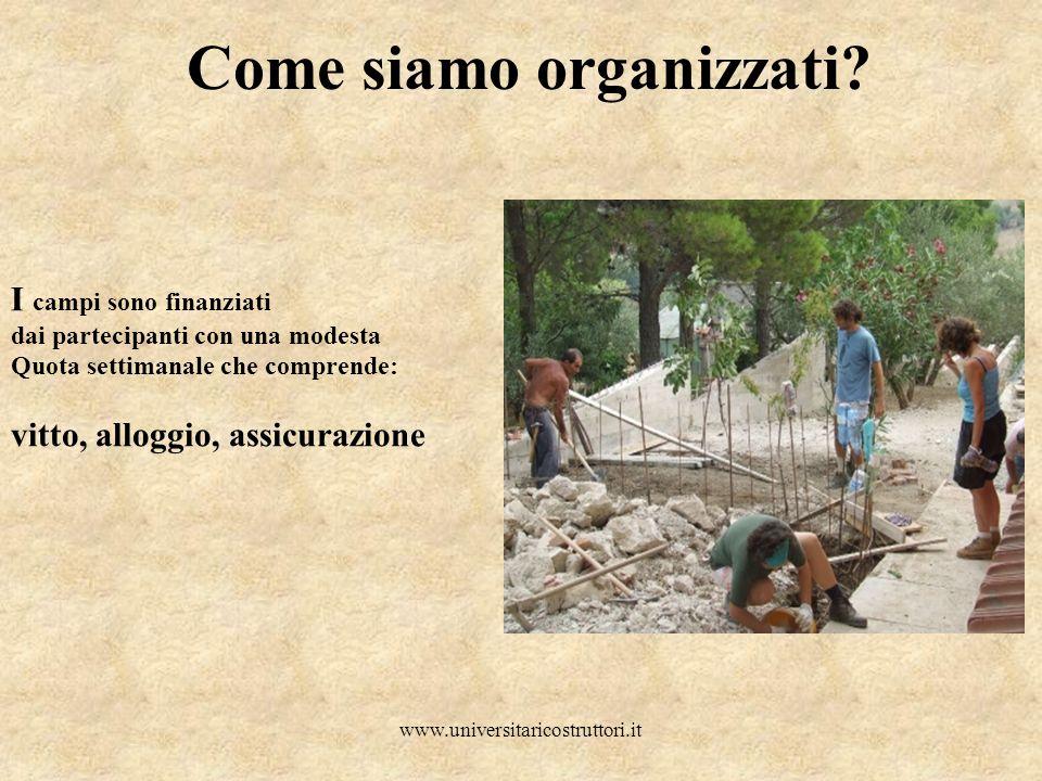 www.universitaricostruttori.it Come siamo organizzati? I campi sono finanziati dai partecipanti con una modesta Quota settimanale che comprende: vitto