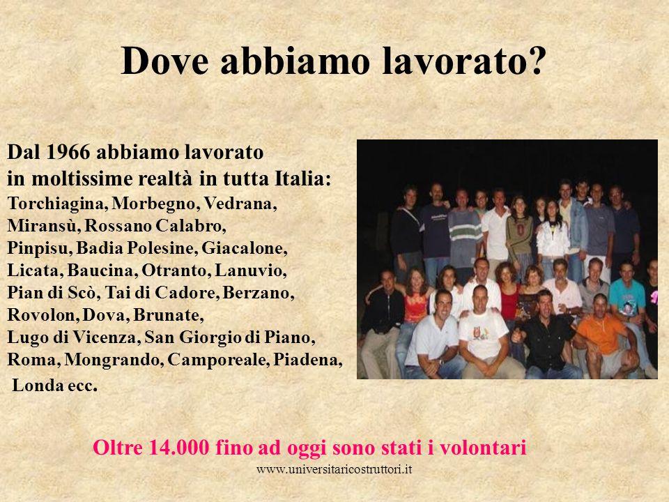 www.universitaricostruttori.it Dove abbiamo lavorato? Dal 1966 abbiamo lavorato in moltissime realtà in tutta Italia: Torchiagina, Morbegno, Vedrana,