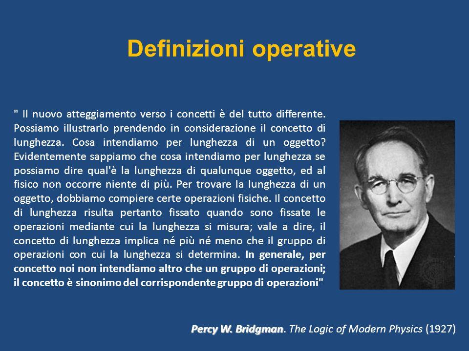 Definizioni operative Il nuovo atteggiamento verso i concetti è del tutto differente.