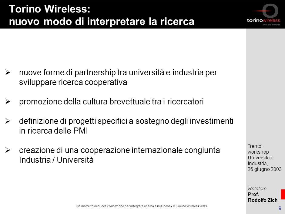 Relatore Prof. Rodolfo Zich Trento, workshop Università e Industria, 26 giugno 2003 8 Un distretto di nuova concezione per integrare ricerca e busines