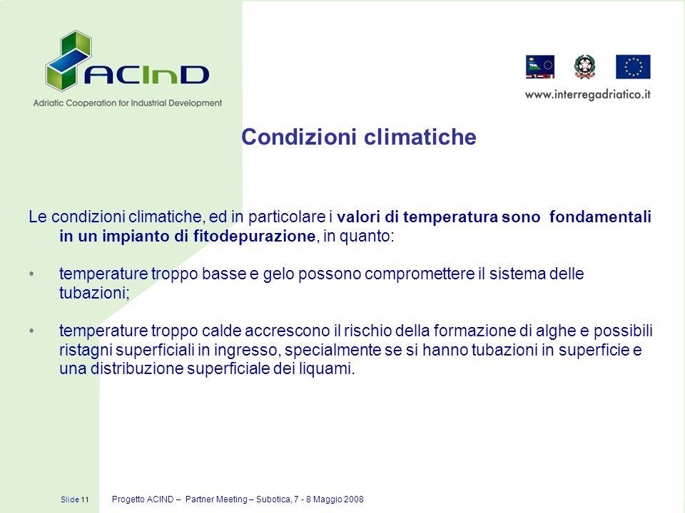 Condizioni climatiche Slide 11 Progetto ACIND – Partner Meeting – Subotica, 7 - 8 Maggio 2008 Le condizioni climatiche, ed in particolare i valori di