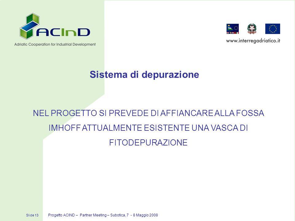 Slide 13 Progetto ACIND – Partner Meeting – Subotica, 7 - 8 Maggio 2008 NEL PROGETTO SI PREVEDE DI AFFIANCARE ALLA FOSSA IMHOFF ATTUALMENTE ESISTENTE