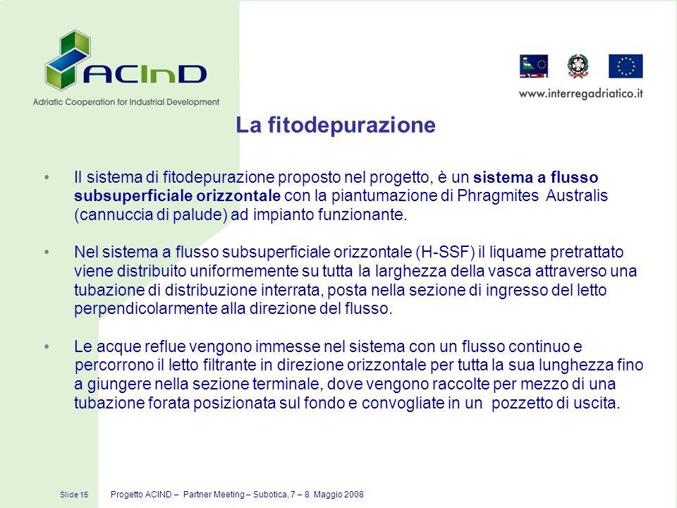 Slide 15 Progetto ACIND – Partner Meeting – Subotica, 7 – 8 Maggio 2008 La fitodepurazione Il sistema di fitodepurazione proposto nel progetto, è un s