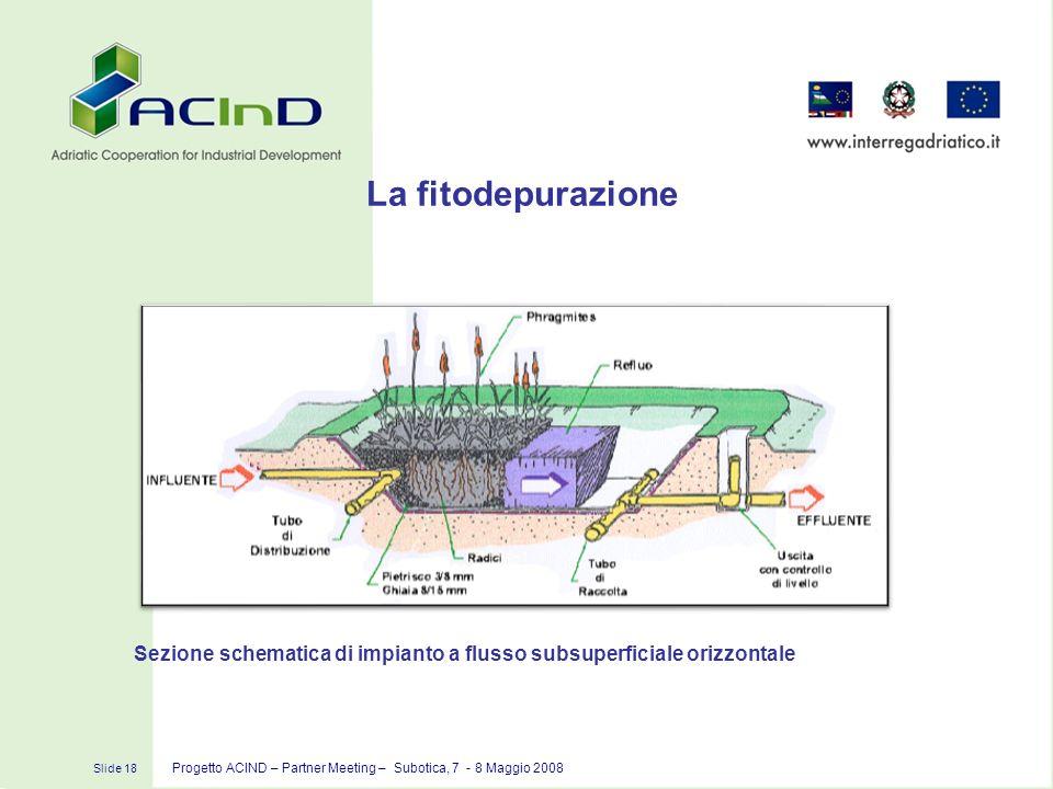 Slide 18 Progetto ACIND – Partner Meeting – Subotica, 7 - 8 Maggio 2008 La fitodepurazione Sezione schematica di impianto a flusso subsuperficiale ori