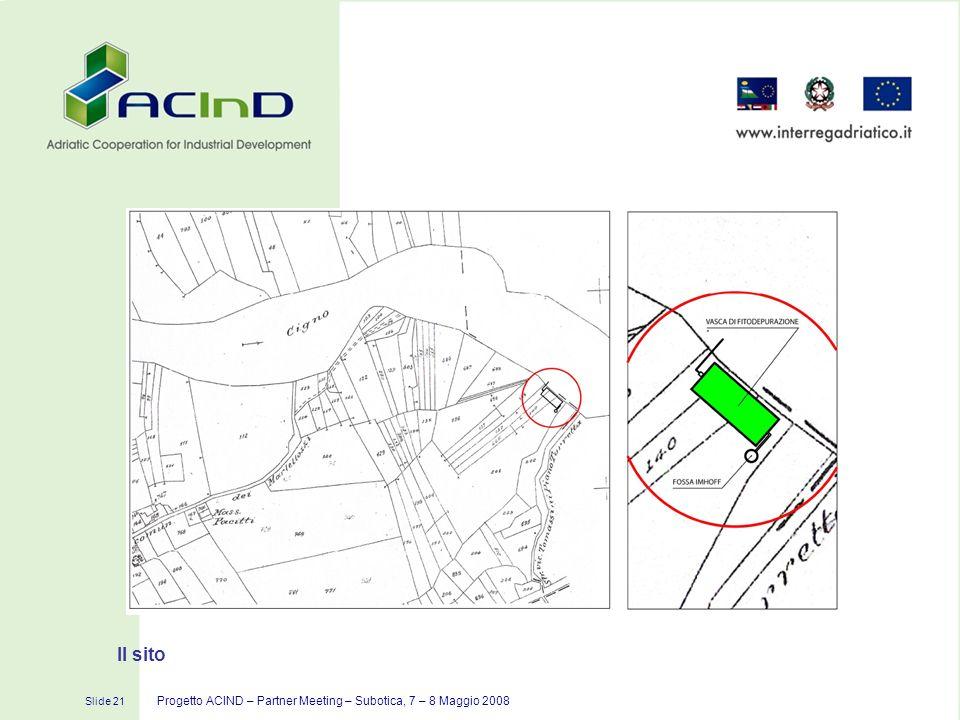Slide 21 Progetto ACIND – Partner Meeting – Subotica, 7 – 8 Maggio 2008 Il sito