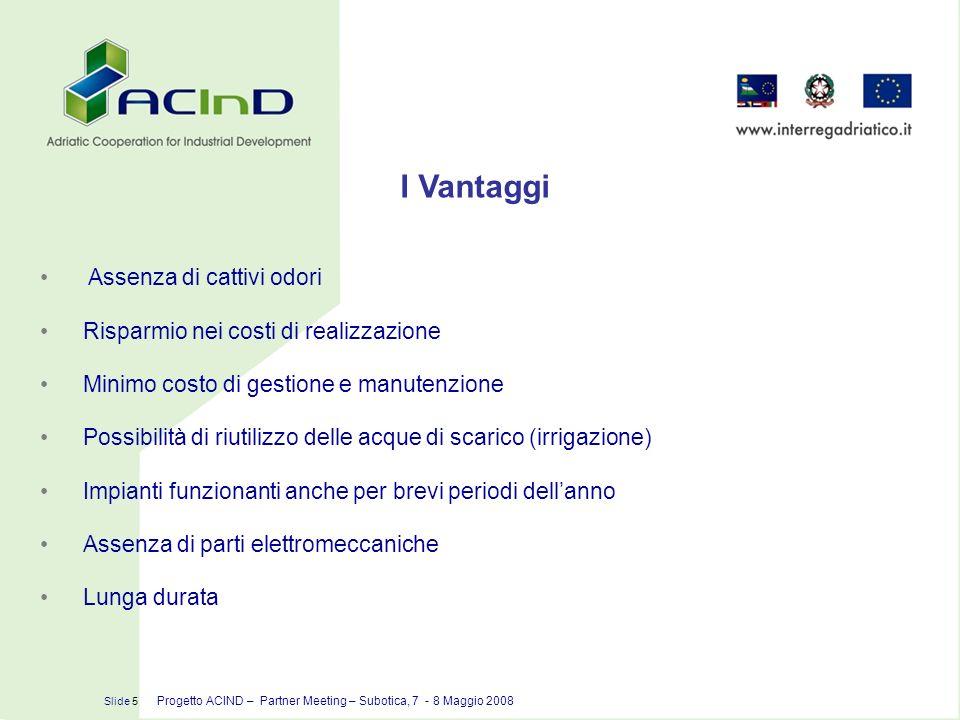 I Vantaggi Slide 5 Progetto ACIND – Partner Meeting – Subotica, 7 - 8 Maggio 2008 Assenza di cattivi odori Risparmio nei costi di realizzazione Minimo