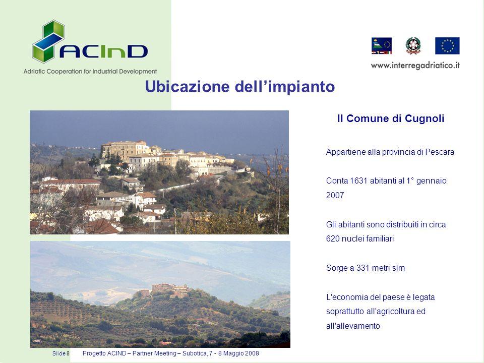 Slide 8 Progetto ACIND – Partner Meeting – Subotica, 7 - 8 Maggio 2008 Il Comune di Cugnoli Appartiene alla provincia di Pescara Conta 1631 abitanti a