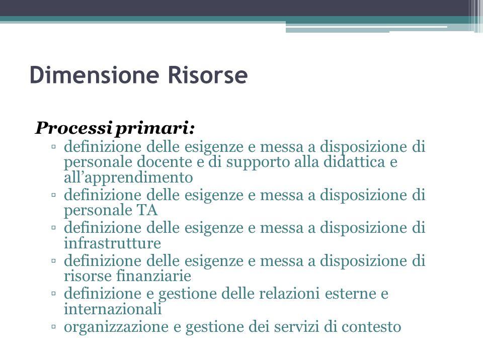 Dimensione Risorse Processi primari: definizione delle esigenze e messa a disposizione di personale docente e di supporto alla didattica e allapprendi