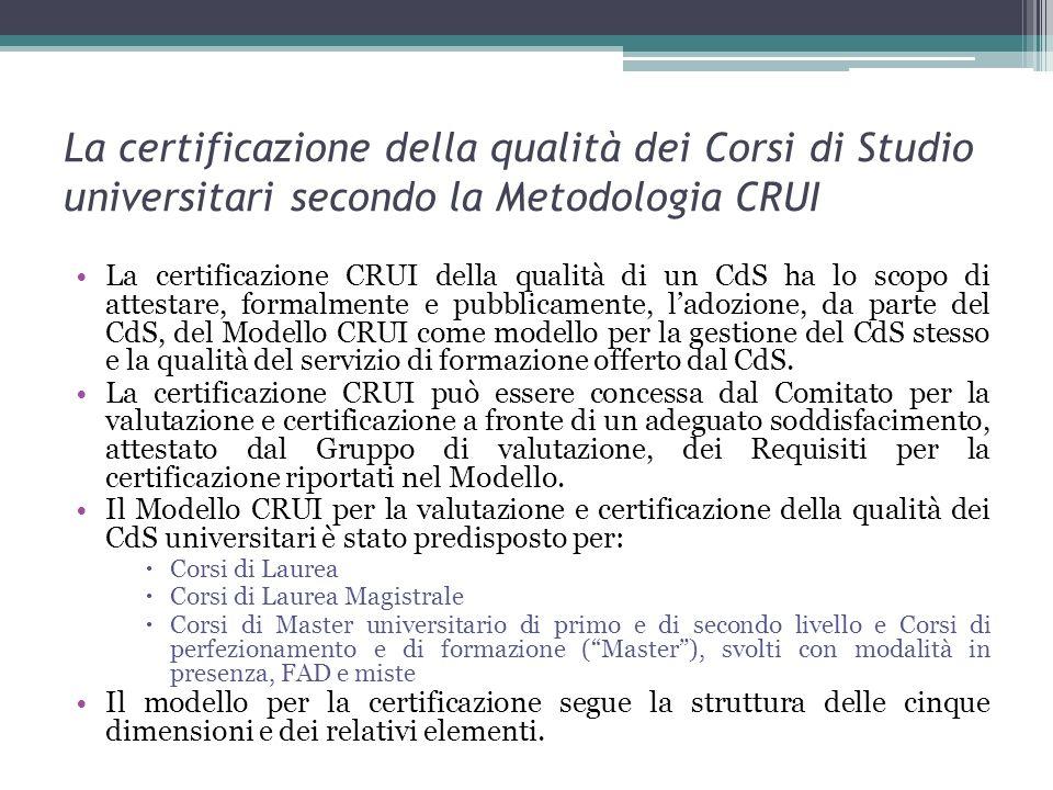 La certificazione della qualità dei Corsi di Studio universitari secondo la Metodologia CRUI La certificazione CRUI della qualità di un CdS ha lo scop