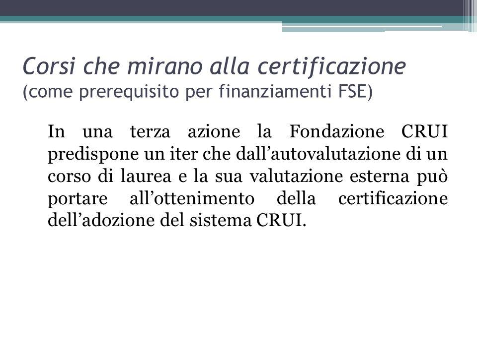 Corsi che mirano alla certificazione (come prerequisito per finanziamenti FSE) In una terza azione la Fondazione CRUI predispone un iter che dallautov