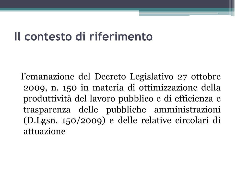 Il contesto di riferimento lemanazione del Decreto Legislativo 27 ottobre 2009, n. 150 in materia di ottimizzazione della produttività del lavoro pubb