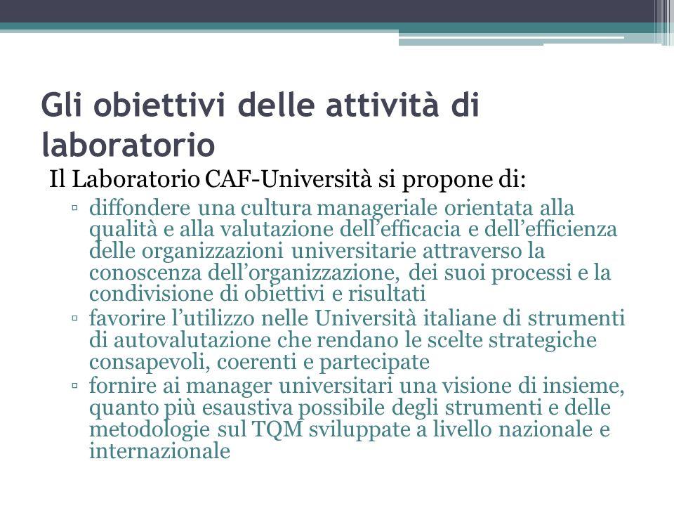 Gli obiettivi delle attività di laboratorio Il Laboratorio CAF-Università si propone di: diffondere una cultura manageriale orientata alla qualità e a