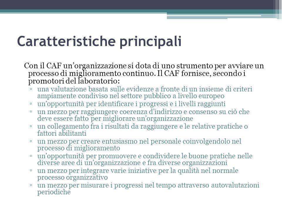 Caratteristiche principali Con il CAF unorganizzazione si dota di uno strumento per avviare un processo di miglioramento continuo. Il CAF fornisce, se