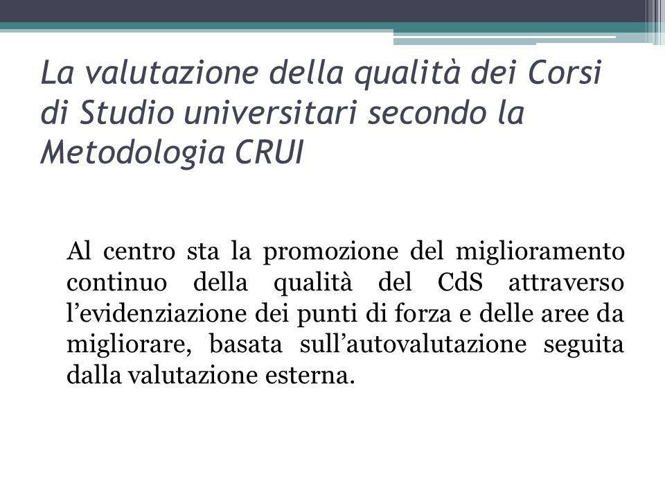 La valutazione della qualità dei Corsi di Studio universitari secondo la Metodologia CRUI Al centro sta la promozione del miglioramento continuo della