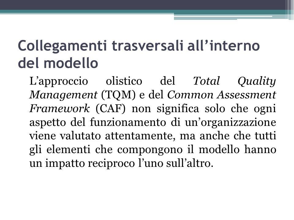 Collegamenti trasversali allinterno del modello Lapproccio olistico del Total Quality Management (TQM) e del Common Assessment Framework (CAF) non sig