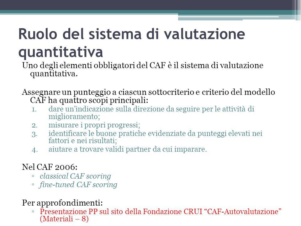 Ruolo del sistema di valutazione quantitativa Uno degli elementi obbligatori del CAF è il sistema di valutazione quantitativa. Assegnare un punteggio
