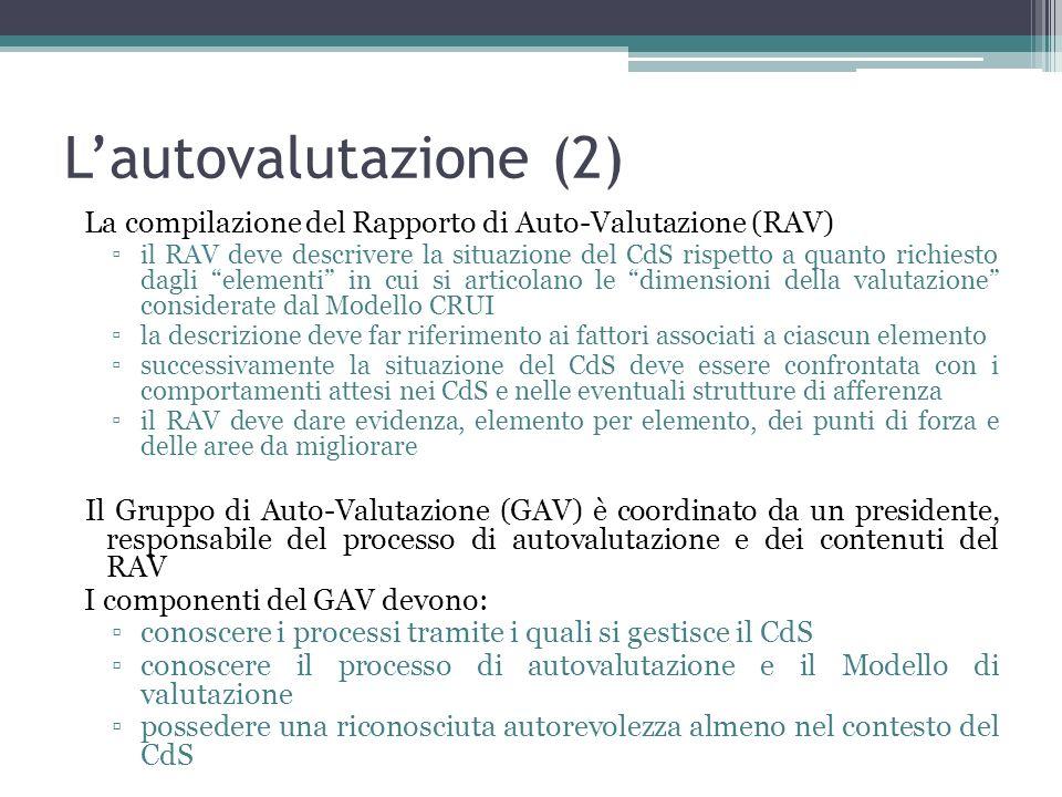Lautovalutazione (2) La compilazione del Rapporto di Auto-Valutazione (RAV) il RAV deve descrivere la situazione del CdS rispetto a quanto richiesto d