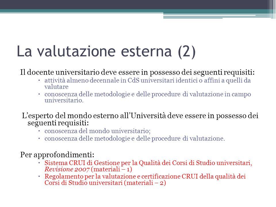 La valutazione esterna (2) Il docente universitario deve essere in possesso dei seguenti requisiti: attività almeno decennale in CdS universitari iden