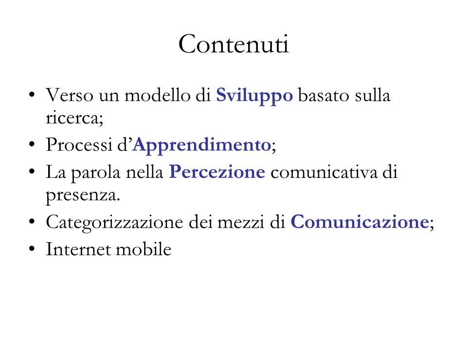 Contenuti Verso un modello di Sviluppo basato sulla ricerca; Processi dApprendimento; La parola nella Percezione comunicativa di presenza.