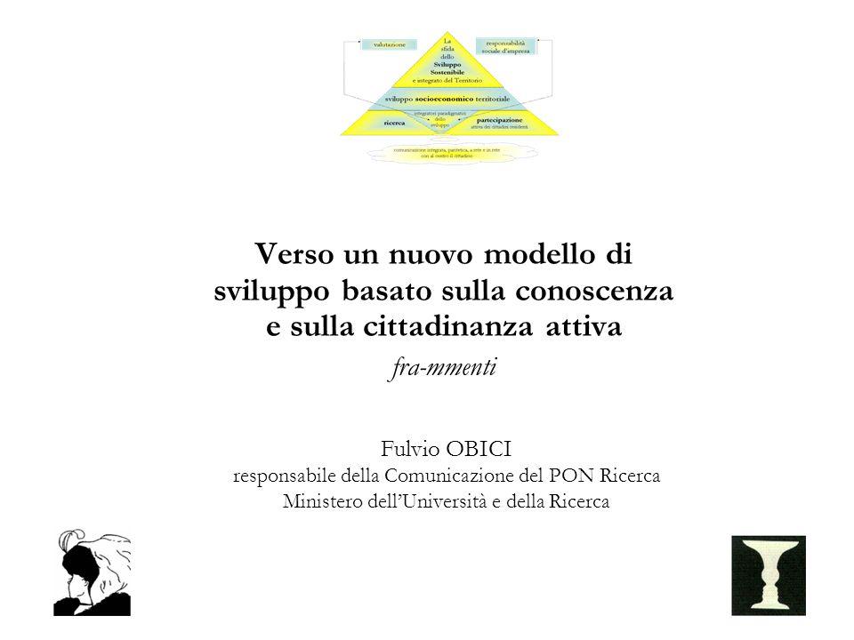 Verso un nuovo modello di sviluppo basato sulla conoscenza e sulla cittadinanza attiva fra-mmenti Fulvio OBICI responsabile della Comunicazione del PON Ricerca Ministero dellUniversità e della Ricerca