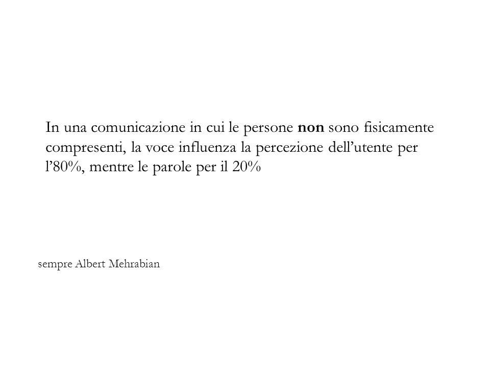 sempre Albert Mehrabian In una comunicazione in cui le persone non sono fisicamente compresenti, la voce influenza la percezione dellutente per l80%, mentre le parole per il 20%