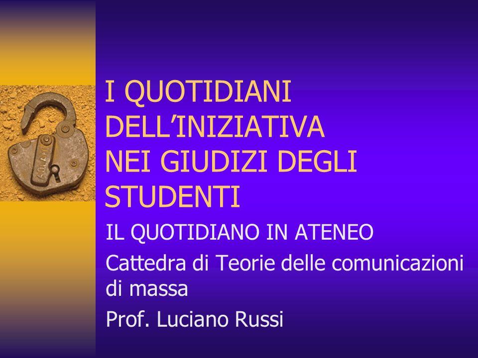 I QUOTIDIANI DELLINIZIATIVA NEI GIUDIZI DEGLI STUDENTI IL QUOTIDIANO IN ATENEO Cattedra di Teorie delle comunicazioni di massa Prof. Luciano Russi