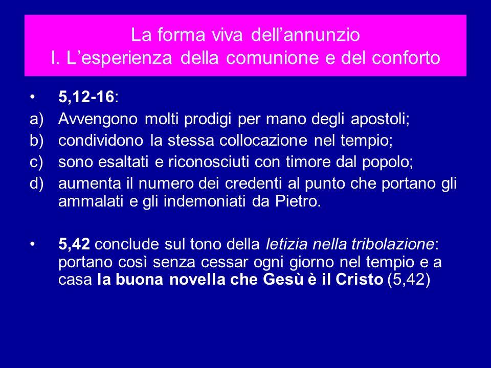 La forma viva dellannunzio I. Lesperienza della comunione e del conforto 5,12-16: a)Avvengono molti prodigi per mano degli apostoli; b)condividono la