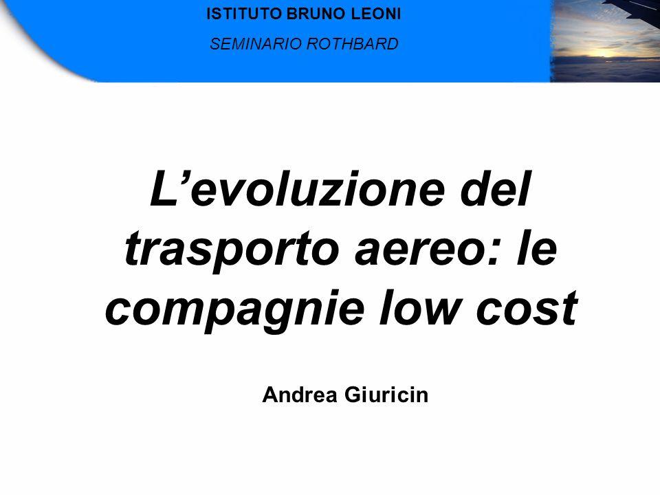 Levoluzione del trasporto aereo: le compagnie low cost Andrea Giuricin ISTITUTO BRUNO LEONI SEMINARIO ROTHBARD