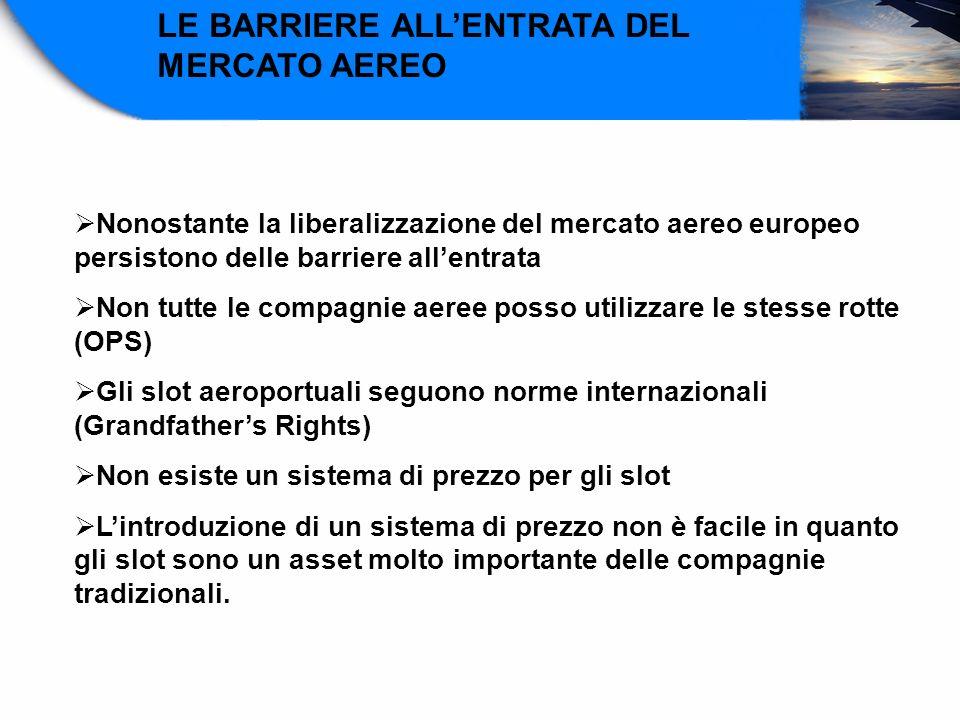 LE BARRIERE ALLENTRATA DEL MERCATO AEREO Nonostante la liberalizzazione del mercato aereo europeo persistono delle barriere allentrata Non tutte le co