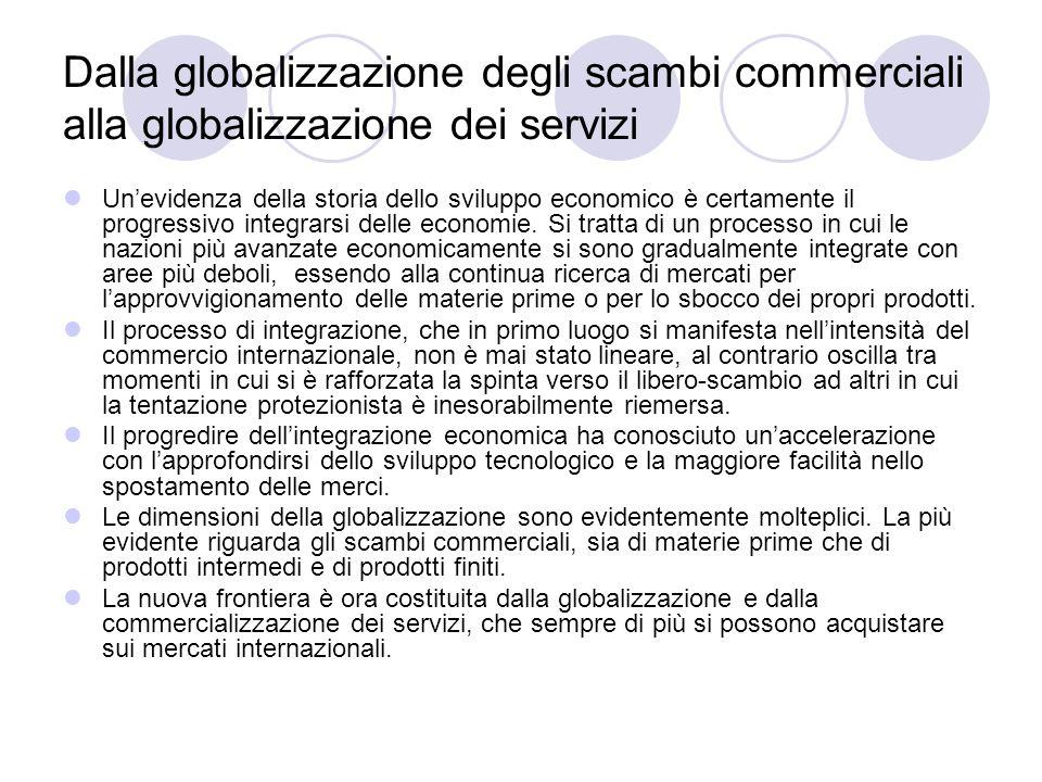 Dalla globalizzazione degli scambi commerciali alla globalizzazione dei servizi Unevidenza della storia dello sviluppo economico è certamente il progr