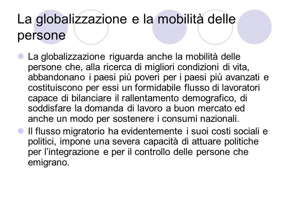 La globalizzazione e la mobilità delle persone La globalizzazione riguarda anche la mobilità delle persone che, alla ricerca di migliori condizioni di
