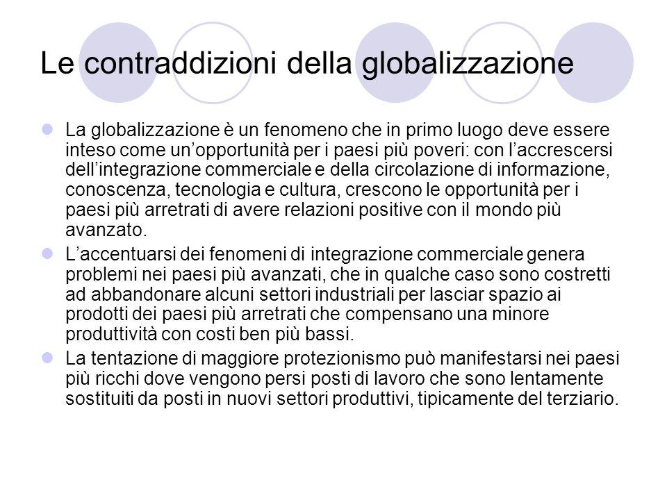 Le contraddizioni della globalizzazione La globalizzazione è un fenomeno che in primo luogo deve essere inteso come unopportunità per i paesi più pove