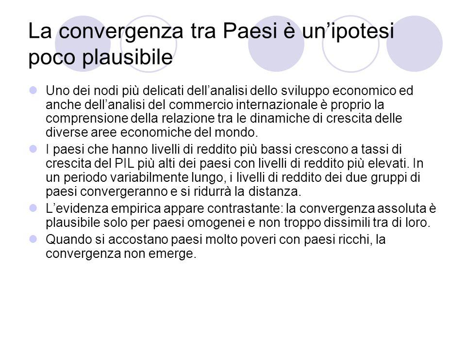 La convergenza tra Paesi è unipotesi poco plausibile Uno dei nodi più delicati dellanalisi dello sviluppo economico ed anche dellanalisi del commercio