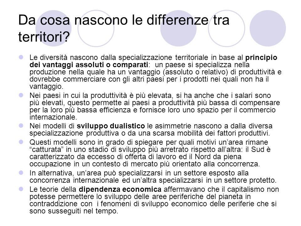 Da cosa nascono le differenze tra territori? Le diversità nascono dalla specializzazione territoriale in base al principio dei vantaggi assoluti o com