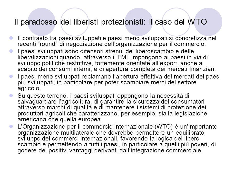 Il paradosso dei liberisti protezionisti: il caso del WTO Il contrasto tra paesi sviluppati e paesi meno sviluppati si concretizza nel recenti round d