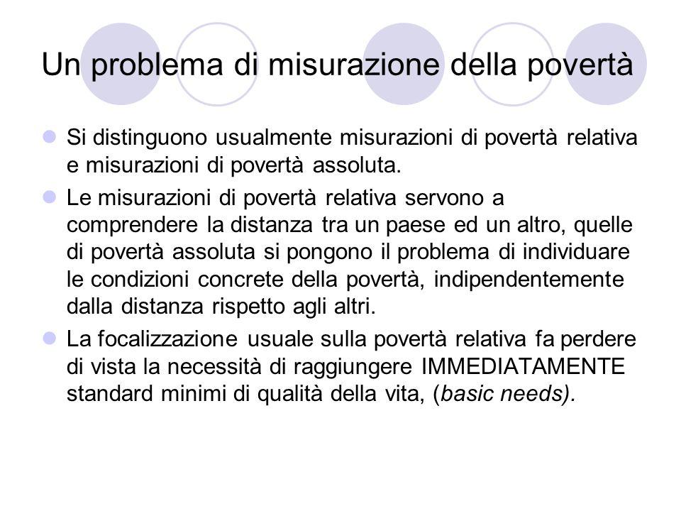 Un problema di misurazione della povertà Si distinguono usualmente misurazioni di povertà relativa e misurazioni di povertà assoluta. Le misurazioni d