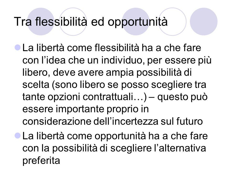 Tra flessibilità ed opportunità La libertà come flessibilità ha a che fare con lidea che un individuo, per essere più libero, deve avere ampia possibi
